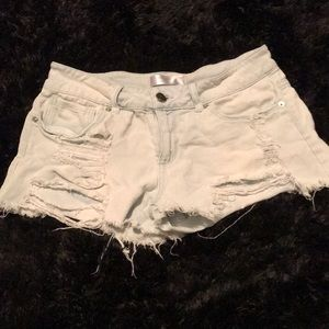 Light colored blue jeans shorts